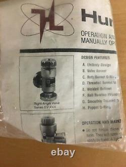 Huntington Right Angle Manual Vacuum Valve (EV-050) NEW