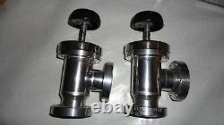 Lot of 2 Vacuum valve, Right angle, SS, Bellows, 2 3/4 CF, Manual, Perkin Elmer